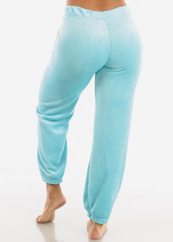 Image of Pastel Blue Plush Pajama Pants