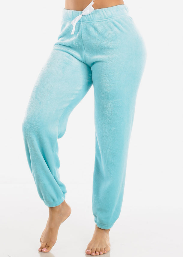 Pastel Blue Plush Pajama Pants