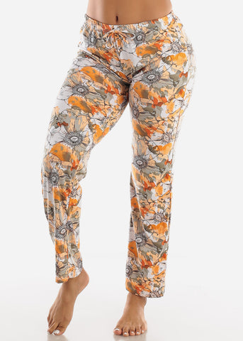 Image of Orange Floral Printed Top & Pants (2 PCE PJ SET)