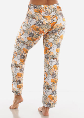 Orange Floral Printed Top & Pants (2 PCE PJ SET)