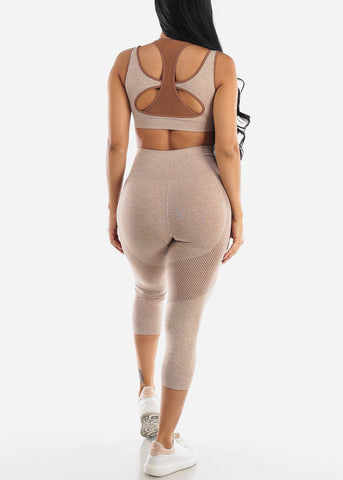 Image of Activewear Brown Sports Bra & Leggings (2 PCE SET)