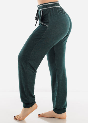 High Rise Dark Green Jogger Pants