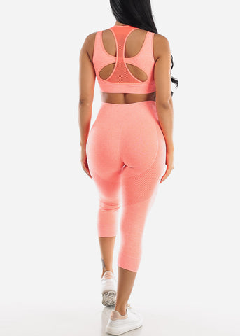 Image of Activewear Orange Sports Bra & Leggings (2 PCE SET)