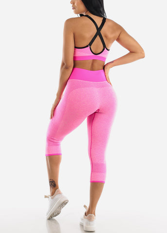 Image of Activewear Hot Pink Sports Bra & Leggings (2 PCE SET)