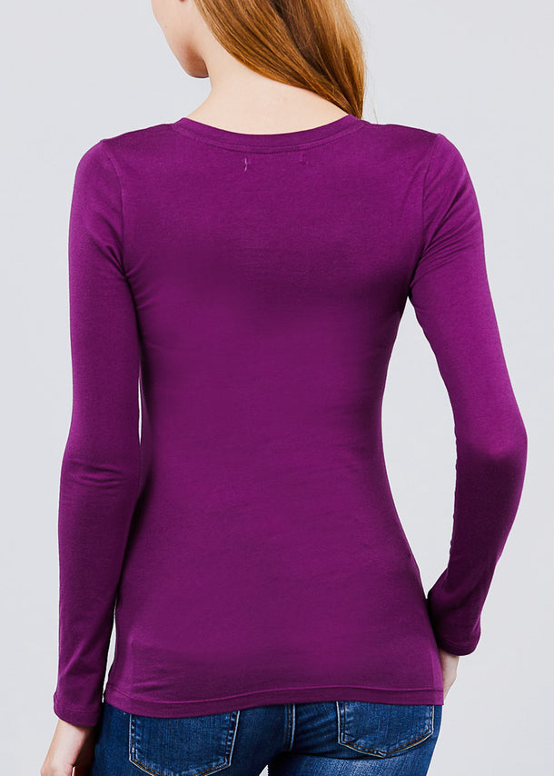 V-Neck Long Sleeve Basic Top (Purple)