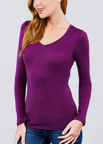 Image of V-Neck Long Sleeve Basic Top (Purple)