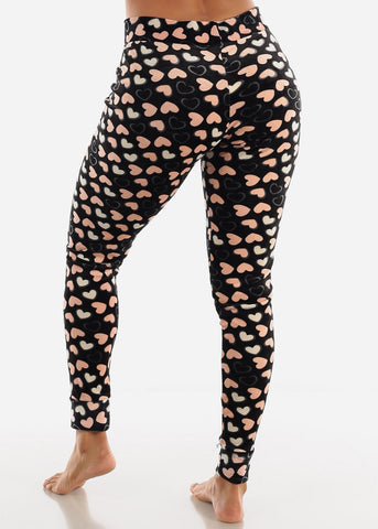 Heart Printed Plush Pajama Pants