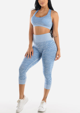 Image of Activewear Printed Blue Sports Bra & Leggings (2 PCE SET)