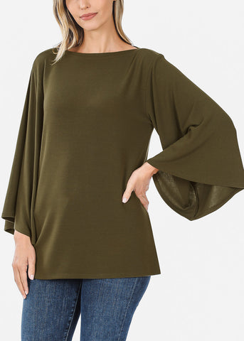 Olive Bell Sleeve Tunic Top