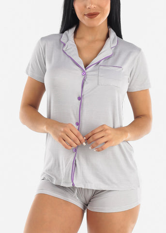 Image of Button Down Grey Shorts PJ Set