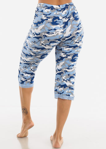 Image of Women's Blue Capris Pajama Pants