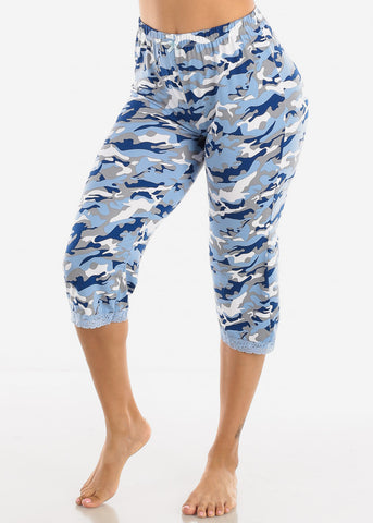 Women's Blue Capris Pajama Pants