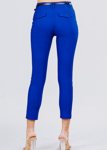 Royal Blue Dressy Belted Pants