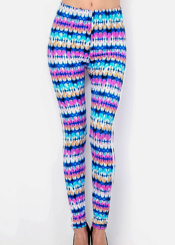 Side Stripe Multicolor Printed Leggings
