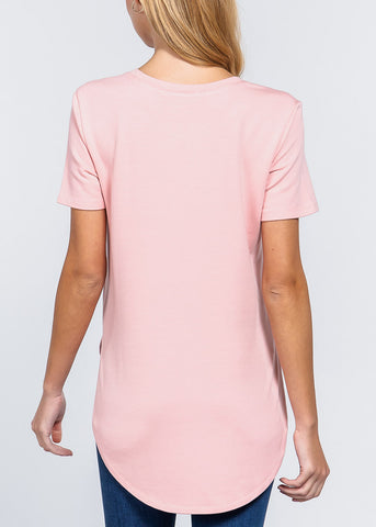Side Slits Pink Top