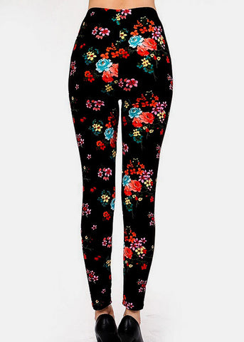 Image of Black Flower Printed Leggins