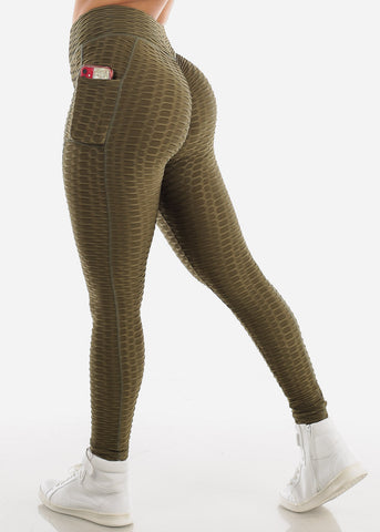 Image of Activewear Textured Butt Lift Olive Leggings
