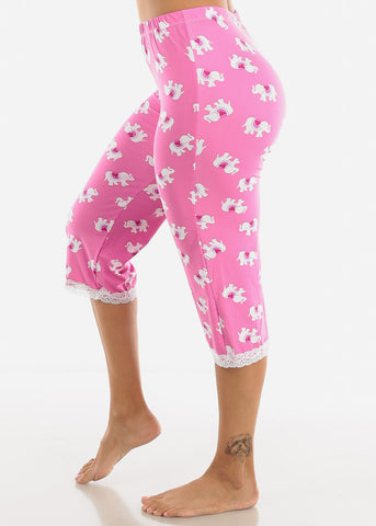 Image of Women's Pink Capris Pajama Pants
