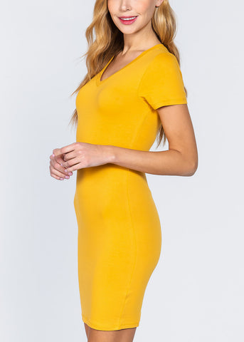Image of Mustard V-Neck Bodycon Dress