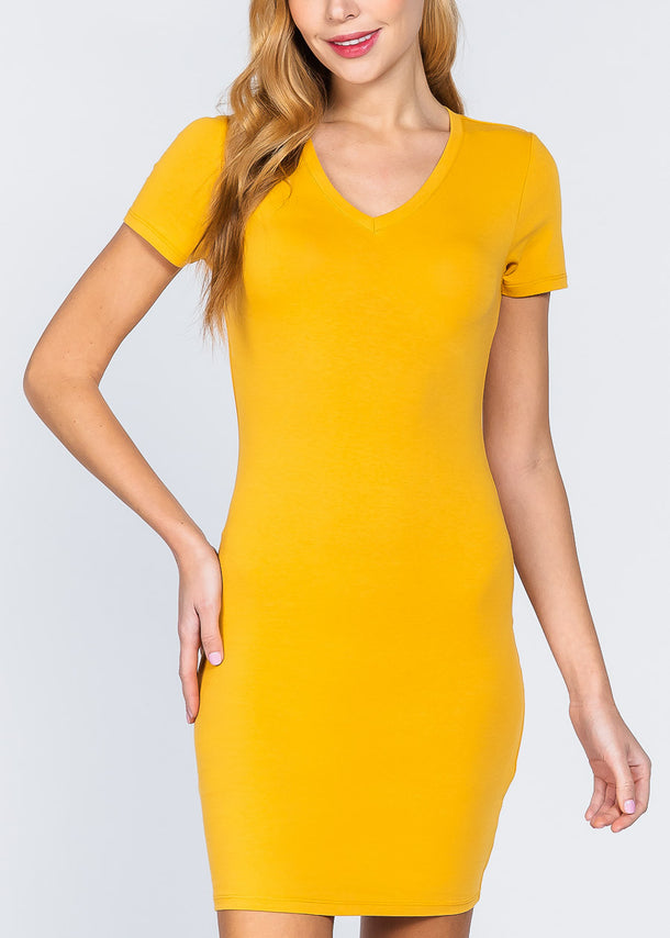 Mustard V-Neck Bodycon Dress
