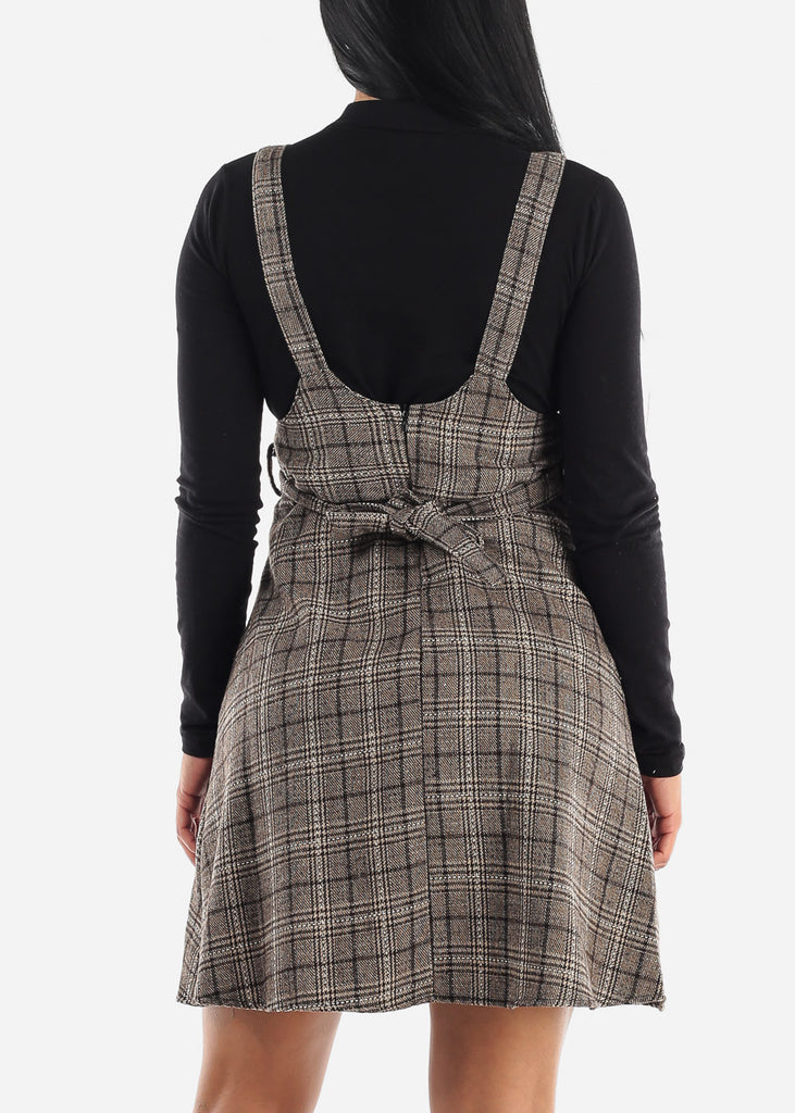 Cute Brown Striped Overall Skirt