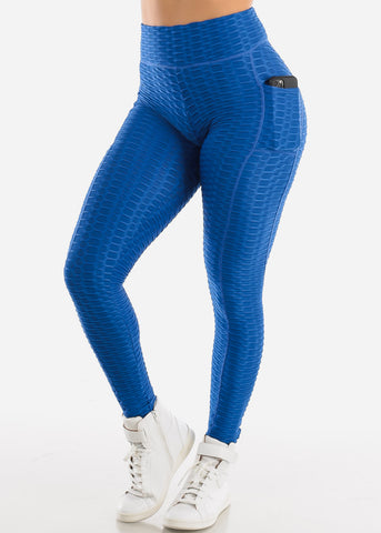 Image of Activewear Textured Butt Lift Royal Blue Leggings