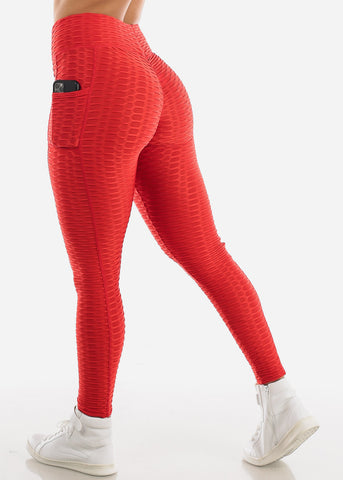 Image of Activewear Textured Butt Lift Red Leggings