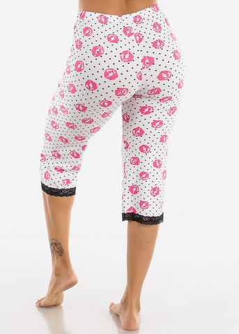 Women's White Capris Pajama Pants