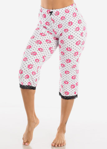 Image of Women's White Capris Pajama Pants