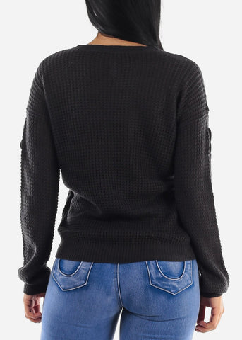 Long Sleeve Knitted Charcoal Sweater