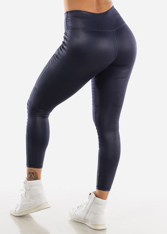 Image of Activewear Navy Pleather Leggings