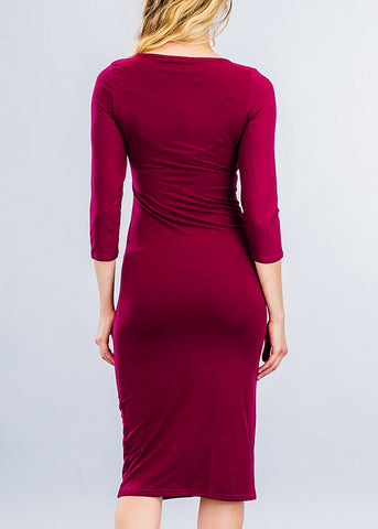 Image of Burgundy Three Quarter Sleeve Midi Dress