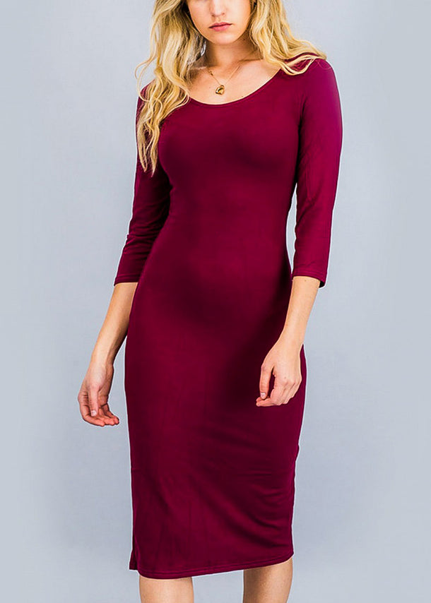 Burgundy Three Quarter Sleeve Midi Dress