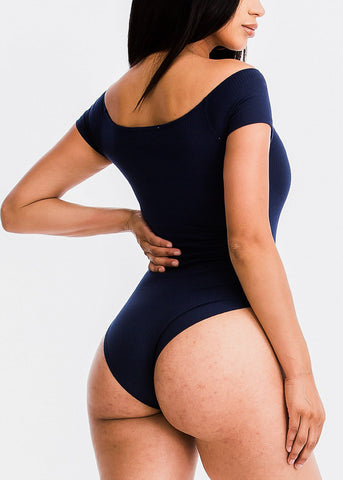 Image of Navy Short Sleeve Bodysuit
