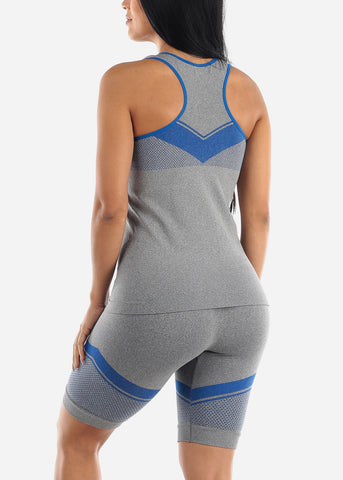 Image of Activewear Blue Trim Top & Shorts (2 PCE SET)