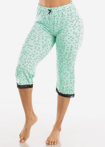 Women's Green Capris Pajama Pants