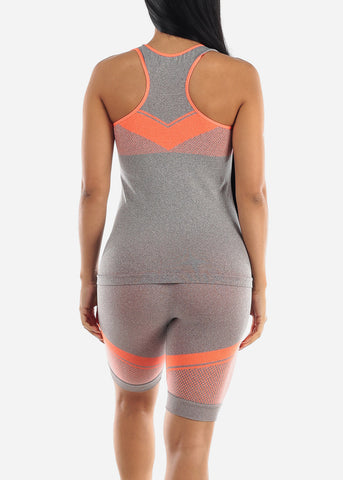 Image of Activewear Orange Trim Top & Shorts (2 PCE SET)