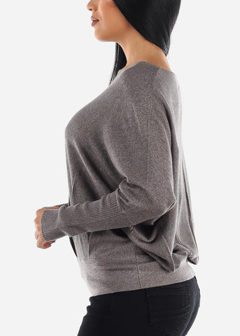 Stylish Bat Wing Gray Sweater