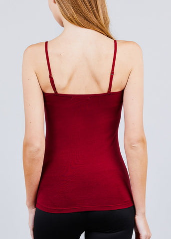 Image of Burgundy Spaghetti Strap Tank Top