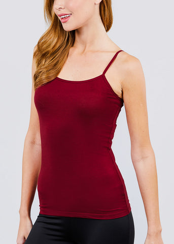 Adjustable Cotton Spaghetti Strap Tank Top (Burgundy)