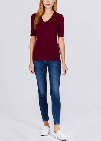 Burgundy V-Neck Top