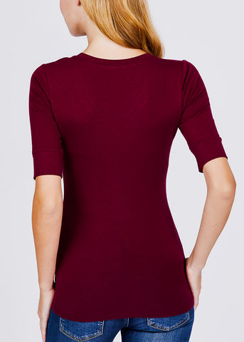 Burgundy Elbow Sleeve V-Neck Top