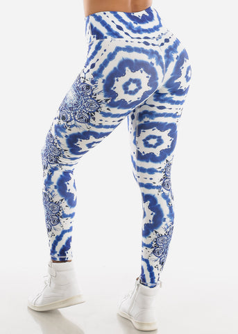 Image of Activewear Printed Blue Leggings