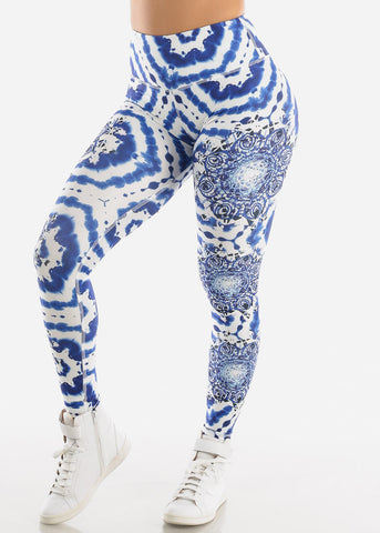 Activewear Printed Blue Leggings