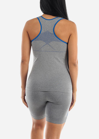 Activewear Blue Trim Top & Shorts (2 PCE SET)