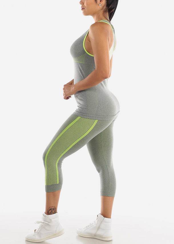 Activewear Green Trim Top & Capris (2 PCE SET)