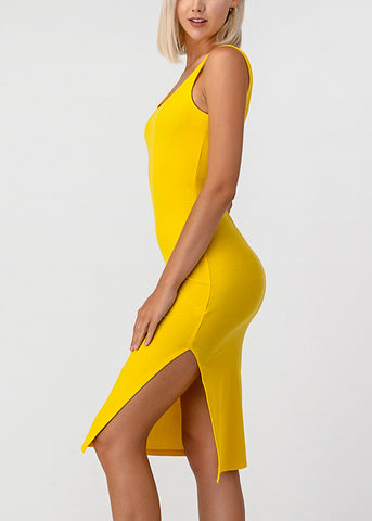 Image of Side Slit Yellow Bodycon Midi Dress