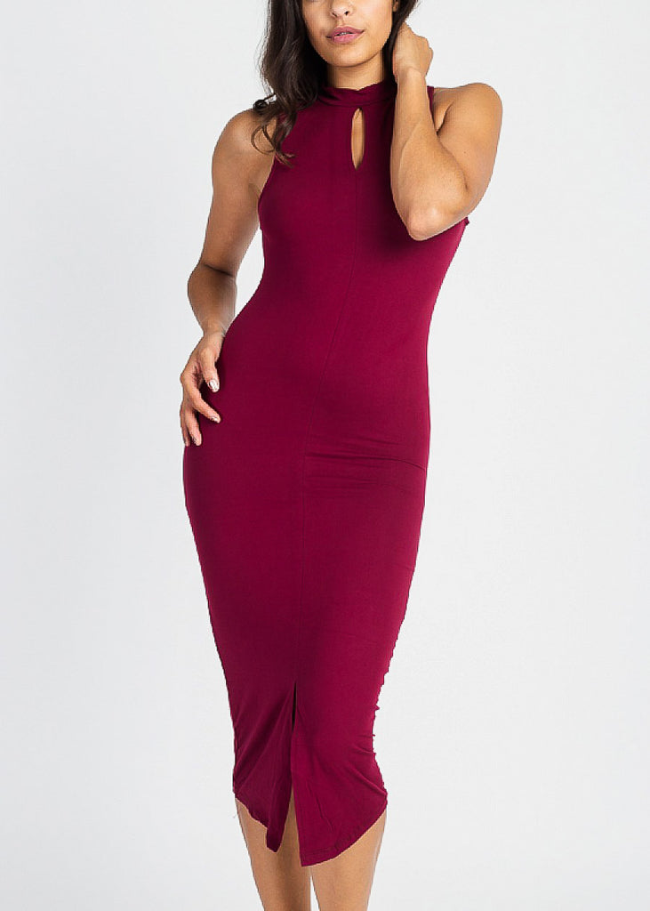 Burgundy Keyhole Dress