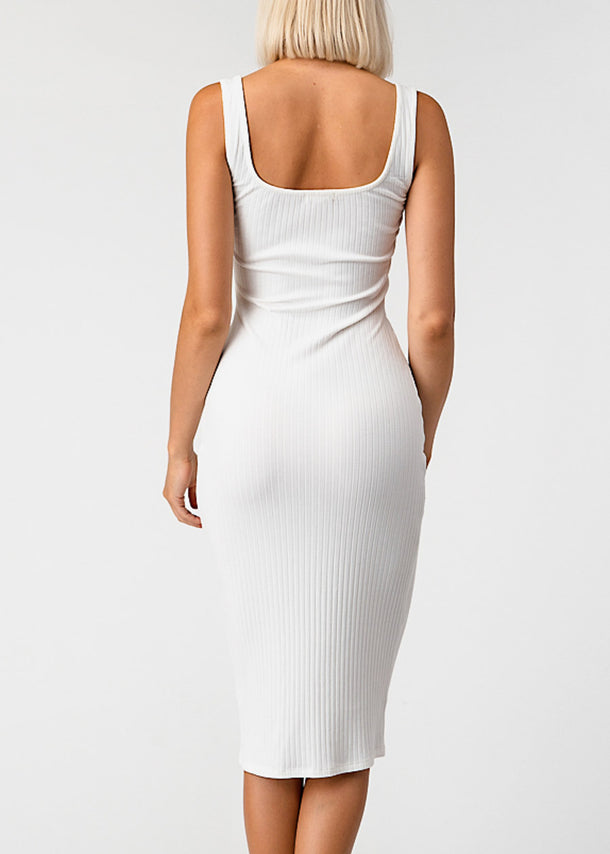Side Button Up White Bodycon Midi Dress