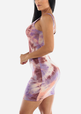 Purple Tie Dye Bodycon Mini Dress